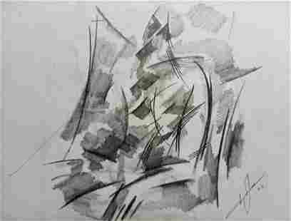Abstract pencil painting Portrait of a man Peter Tovpev