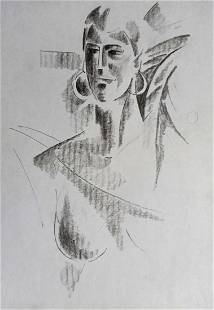 Abstract pencil painting Portrait of a woman Peter
