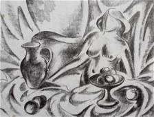 Abstract pencil painting Naked woman at the table Peter
