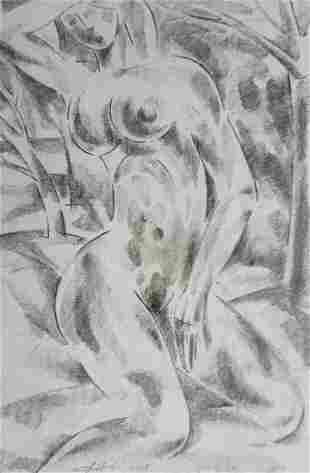Abstract pencil painting Portrait of a naked girl Peter