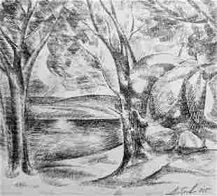 Pencil painting Summer landscape Peter Tovpev
