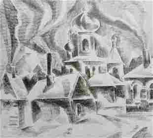 Pencil painting Rural life Peter Tovpev