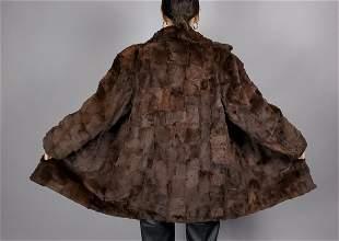 Sheared Brown Mink Fur Coat