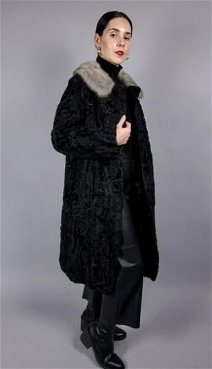 Black Broadtail Fur Platinum Mink Collar