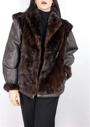 Leather Brown Mink Fur Jacket
