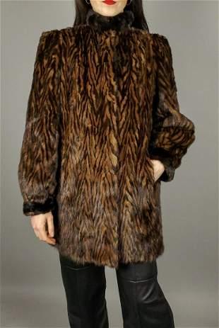 Brown Two Tone Mink Fur Jacket