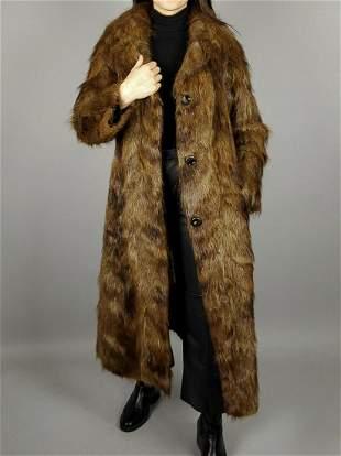 Long Brown Nutria Fur Coat