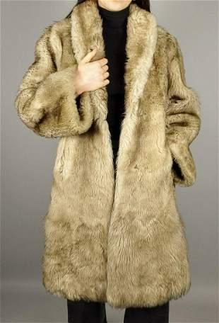 Beige Alpaca Fur Coat