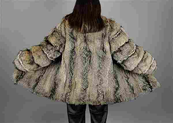 Black Brown Coyote Fur Jacket