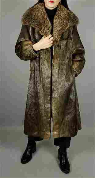 Brown Seal Fur Coat Raccoon Fur Collar