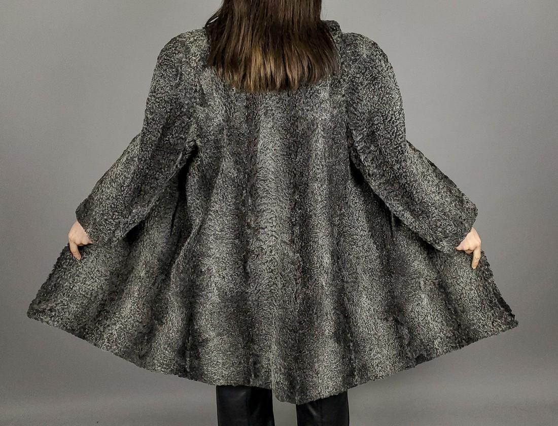 Grey Curly Persian Lamb Fur Coat