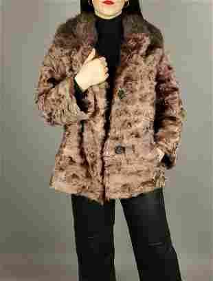 Brown Pinkish Lamb Fur Jacket Muskrat Collar
