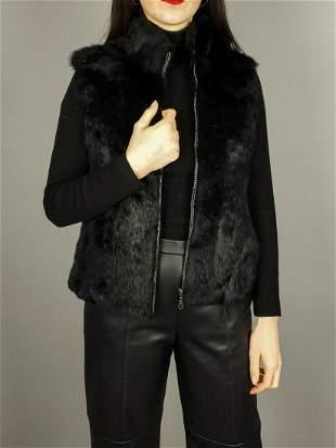 Black Rabbit Fur Vest