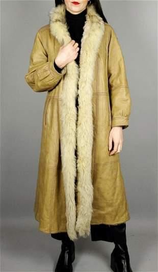 Beige Fox Fur Leather Jacket