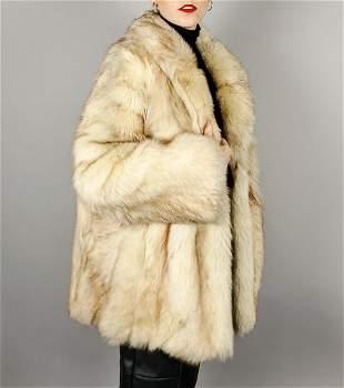 Beige Cream Fox Fur Jacket