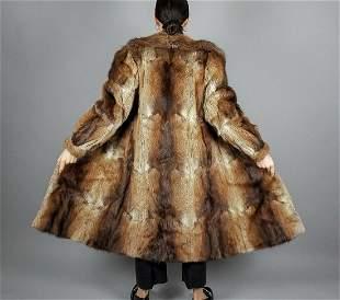 Beige Brown Muskrat Fur Coat
