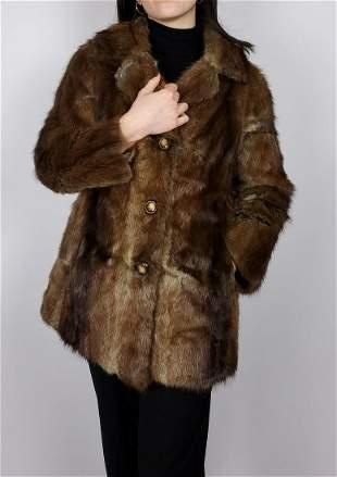 Brown Muskrat Fur Jacket