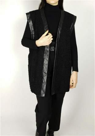 Black Curly Lamb Fur Vest