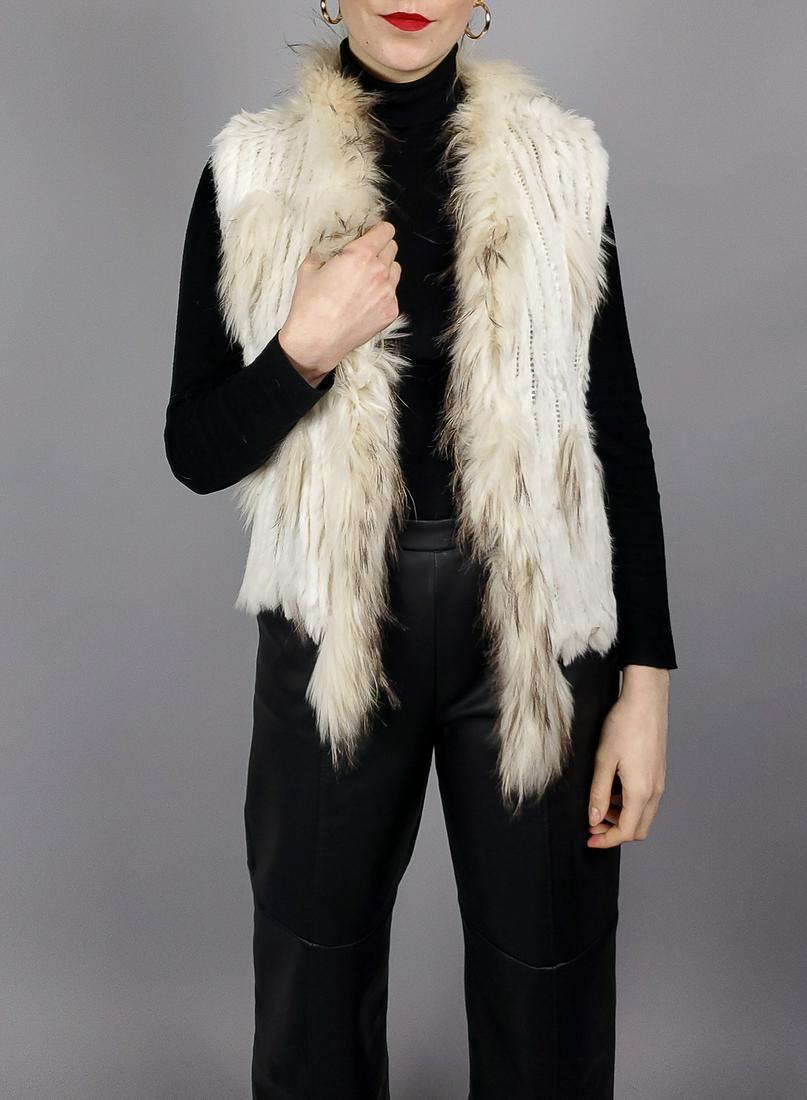 White Rabbit Raccoon Fur Vest
