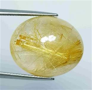 38.10 Ct Natural Golden Rutile Quartz Oval Cut