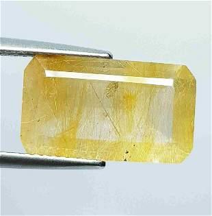 7.60 Ct Natural Golden Rutile Quartz Octagon Cut