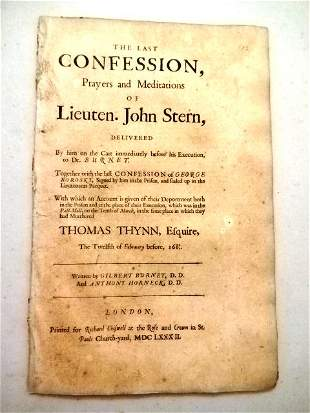 1682 Last Confession of Lt. John Stern Execution