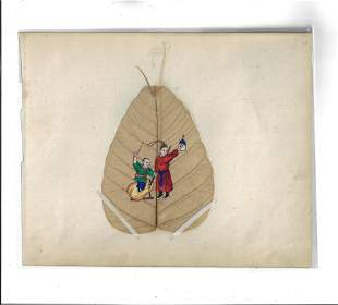 c1870 China Trade Painting on Fig Leaf