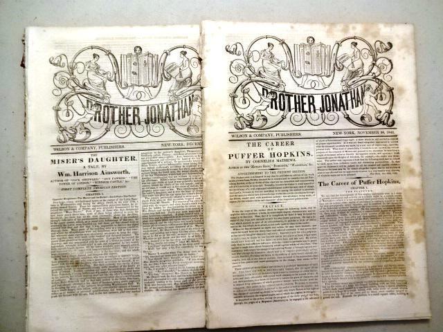 1842 Three Issues Brother Jonathan Magazine