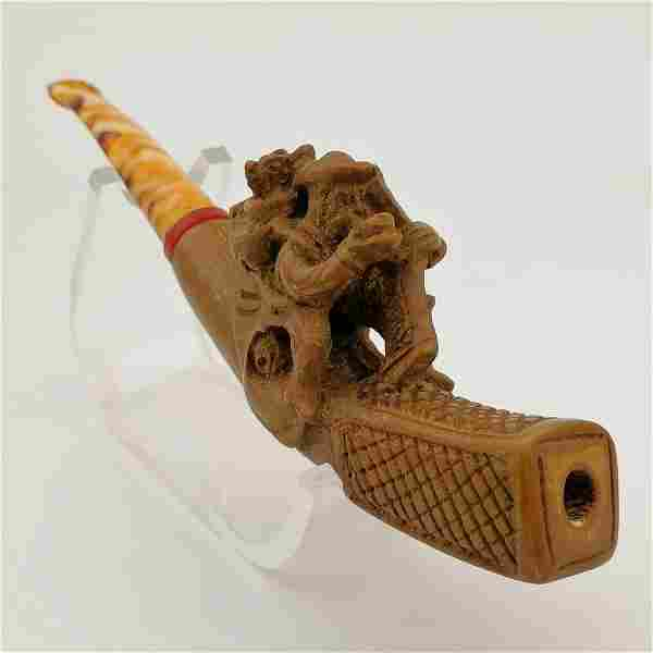 Man carrying Dog and smoking pipe,Hand carved