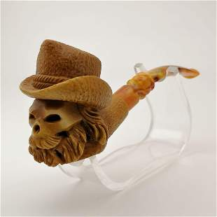Cowboy Skull,Hand carved Meerschaum Pipe