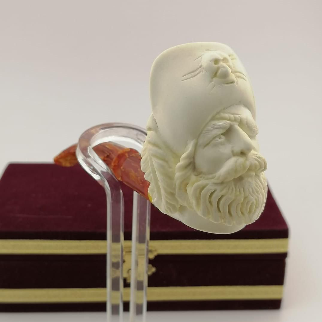 Pirate,Hand carved Meerschaum Pipe.