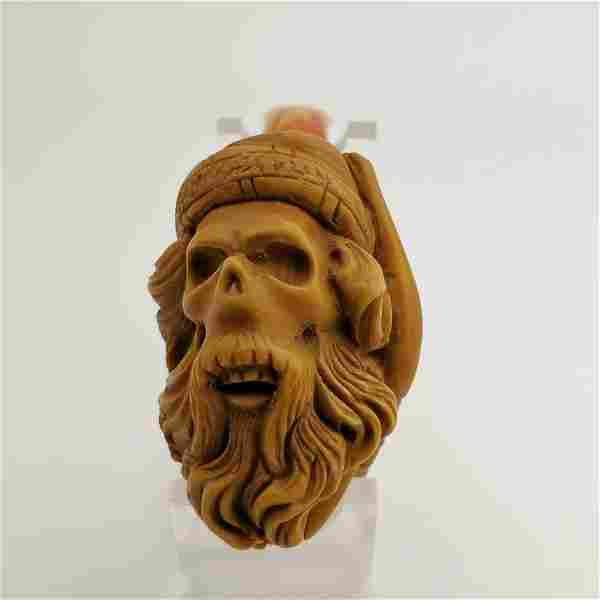 Santa Skull,Hand carved Meerschaum Pipe