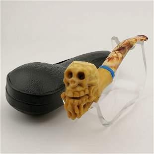 Skull in Skeleton Hand,Hand carved Meerschaum Pipe.