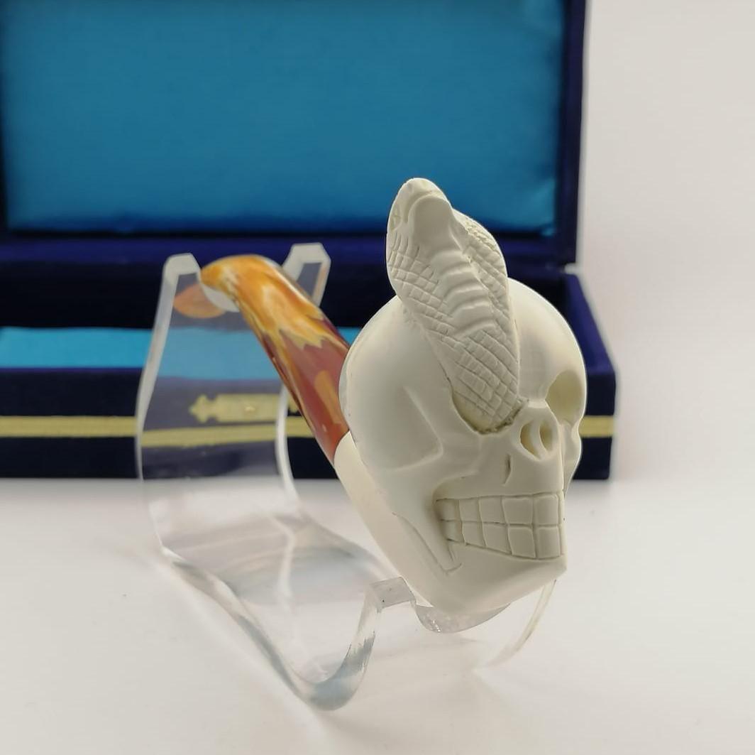 Skull King Cobra,Hand carved Meerschaum Pipe.