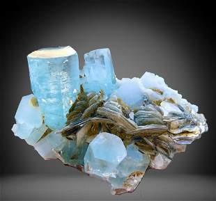 1482 C.T Blue Gemmy Aquamarine Bunch Specimen From