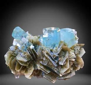 1896 C.T Blue Gemmy Aquamarine Bunch Specimen From