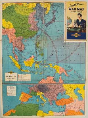 1944 Lowell Thomas' War Map of the World -- Lowell