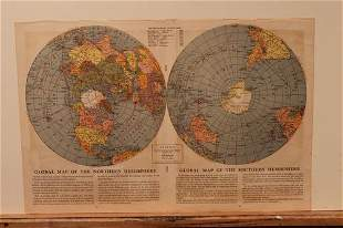 1942 WW II World Hemispherical Map