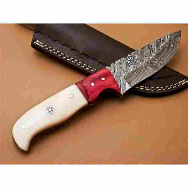 Hunting knife damascus steel work camping bone wood