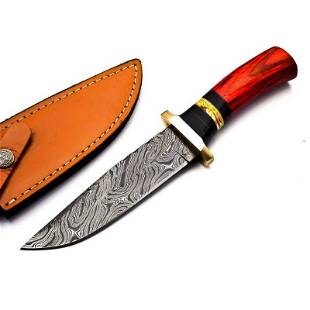 Damascus steel knife hiking handmade walnut wood brass