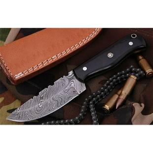Skinner damascus steel knife hunting buffalo horn