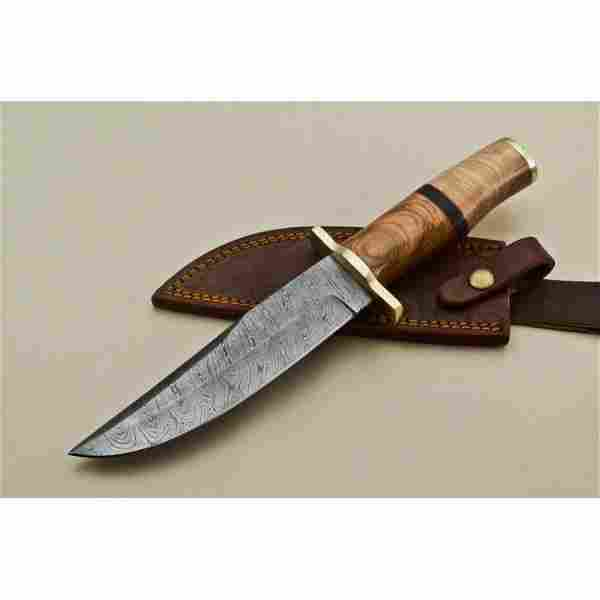 Bowie damascus steel knife survival hunting brass wood