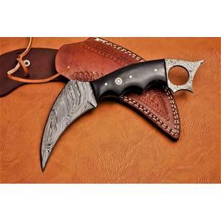 Camping work damascus steel knife bull horn leather