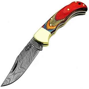Hunting folding damascus steel knife wood pocket hiking
