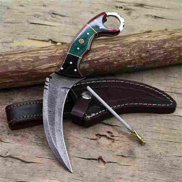 Handmade wild life damascus steel knife bowie karambit