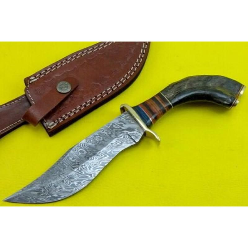 Camping damascus steel knife ram horn brass leather
