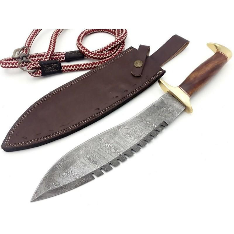 Everyday carry damascus steel knife brass rosewood
