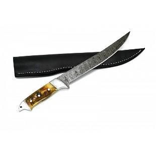 Hunting damascus steel knife full tang handmade ram