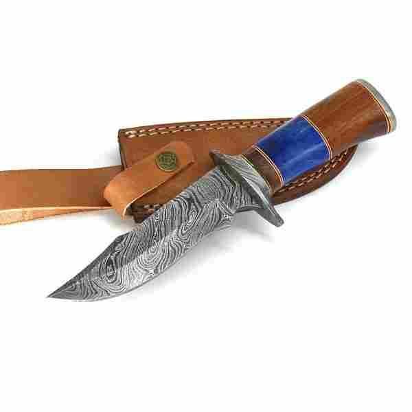 Hunting work damascus steel knife bowie bone wood