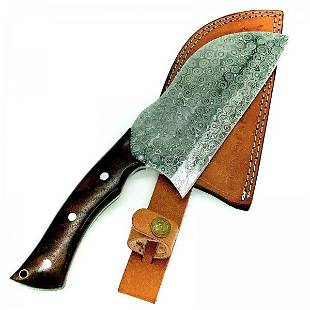 Kitchen chef damascus steel knife full tang rose wood